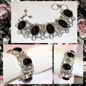5 Black Onyx Gemstone Link Statement Boho Bracelet